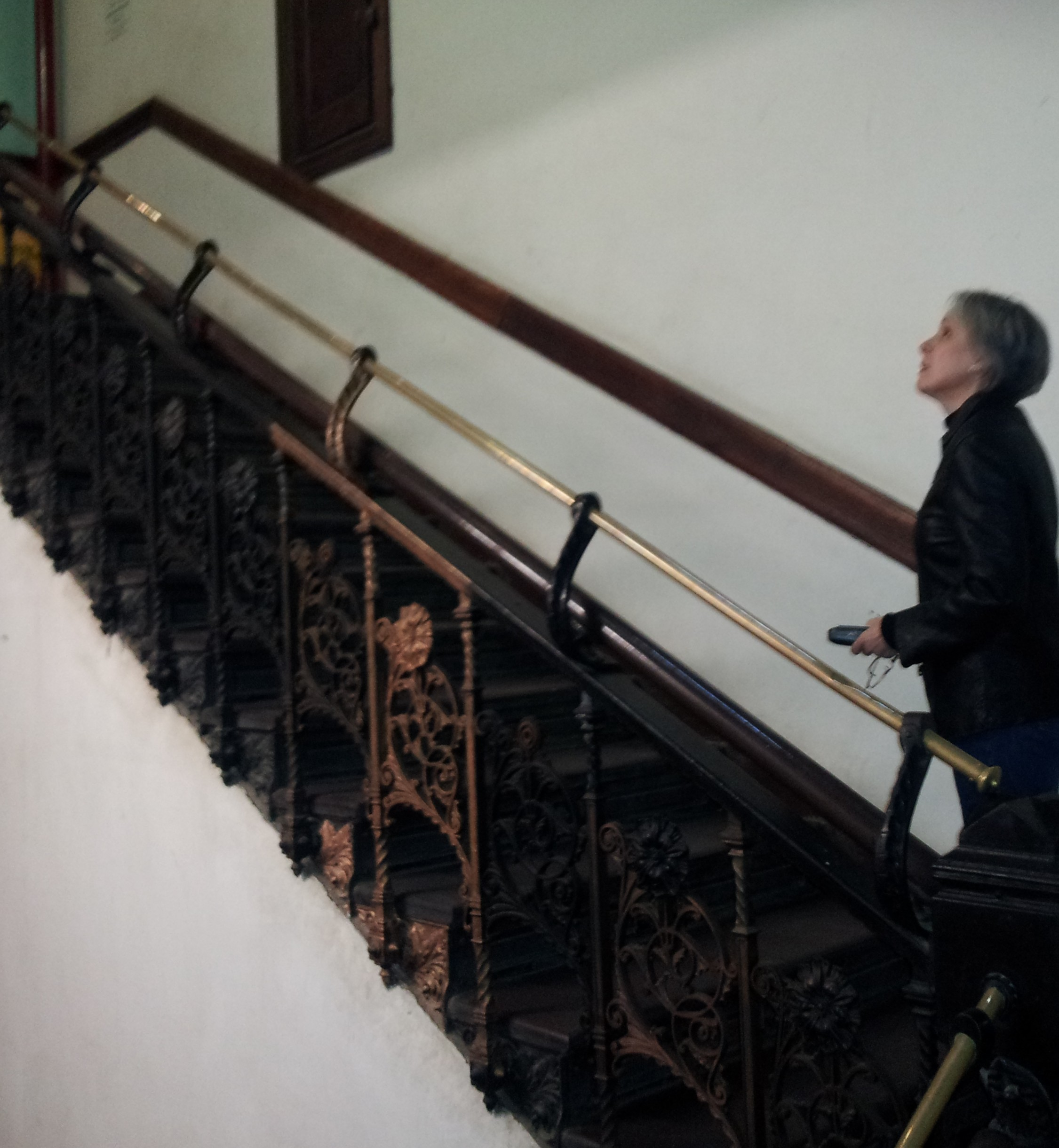 trespasser on stairs, chelsea hotel