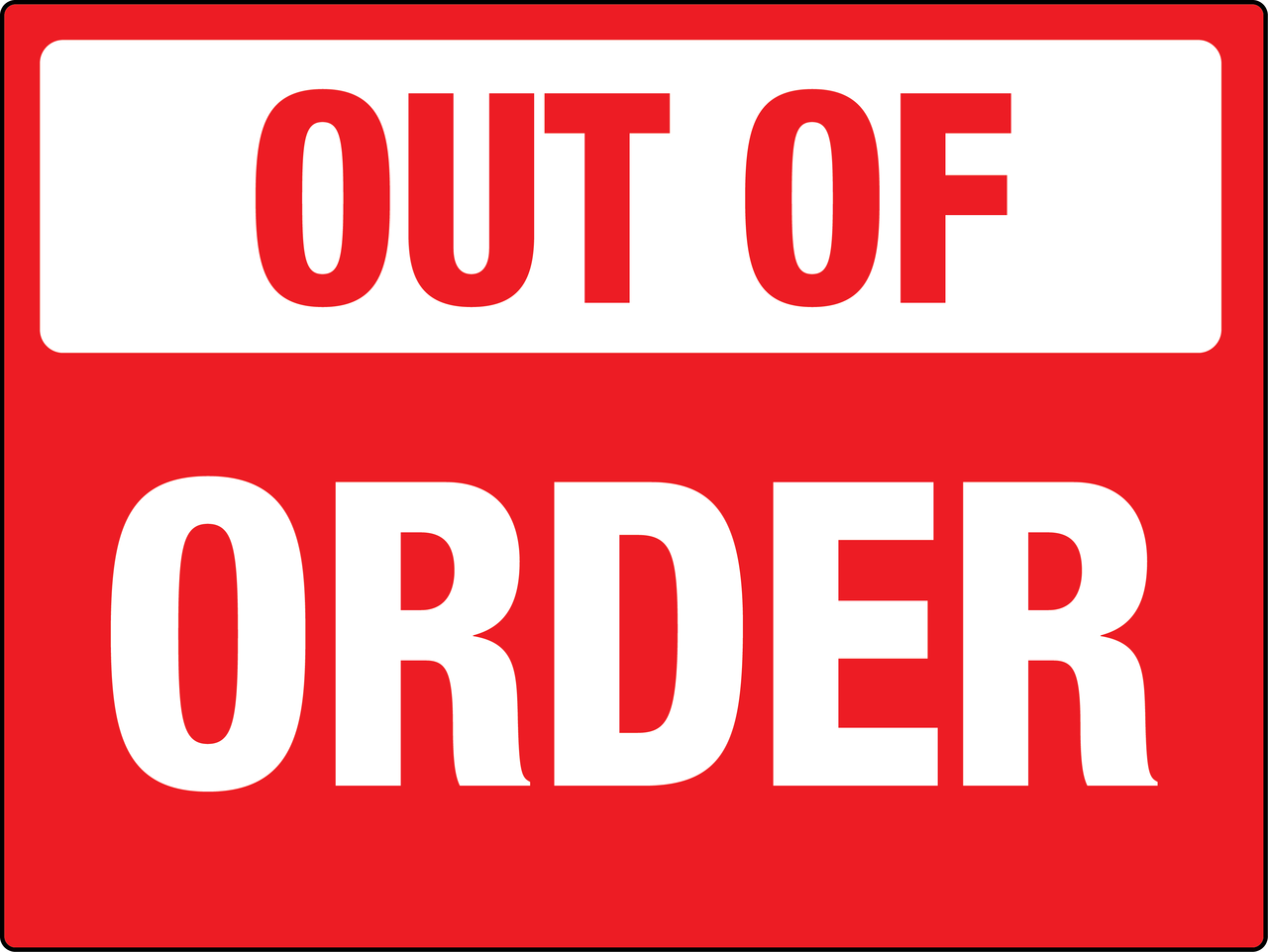 Tech troubles for Bathroom out of order sign