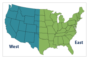 East-West United States Map