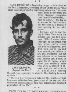 jack kerouac explains the beat generation - newspaper clipping