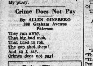 Allen Ginsberg first poem, 1938